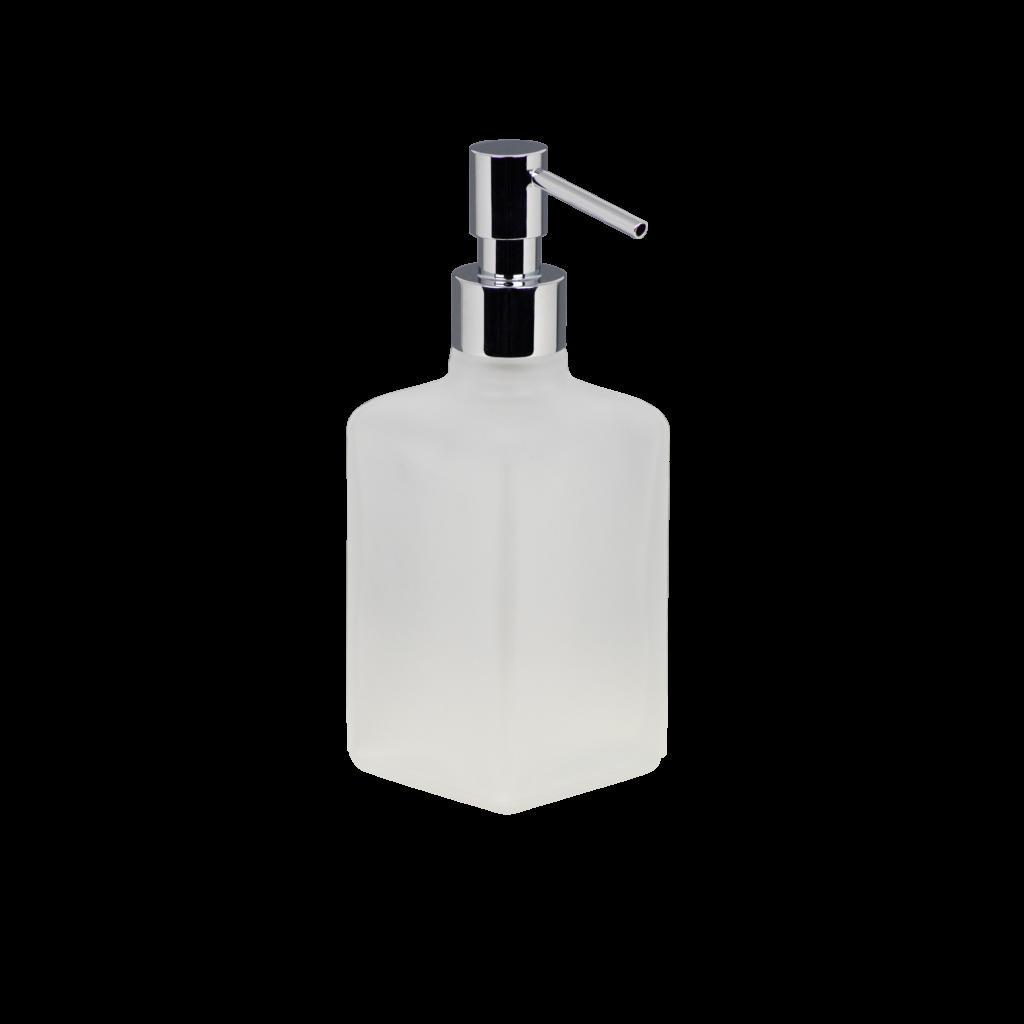 Dosatore sapone liquido in vetro con pompetta metallo