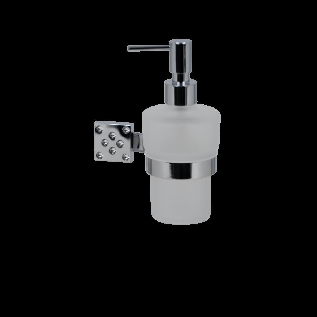 dosatore sapone liquido in cristallo satinato e cromo con cristalli swarovski di mirella tanzi