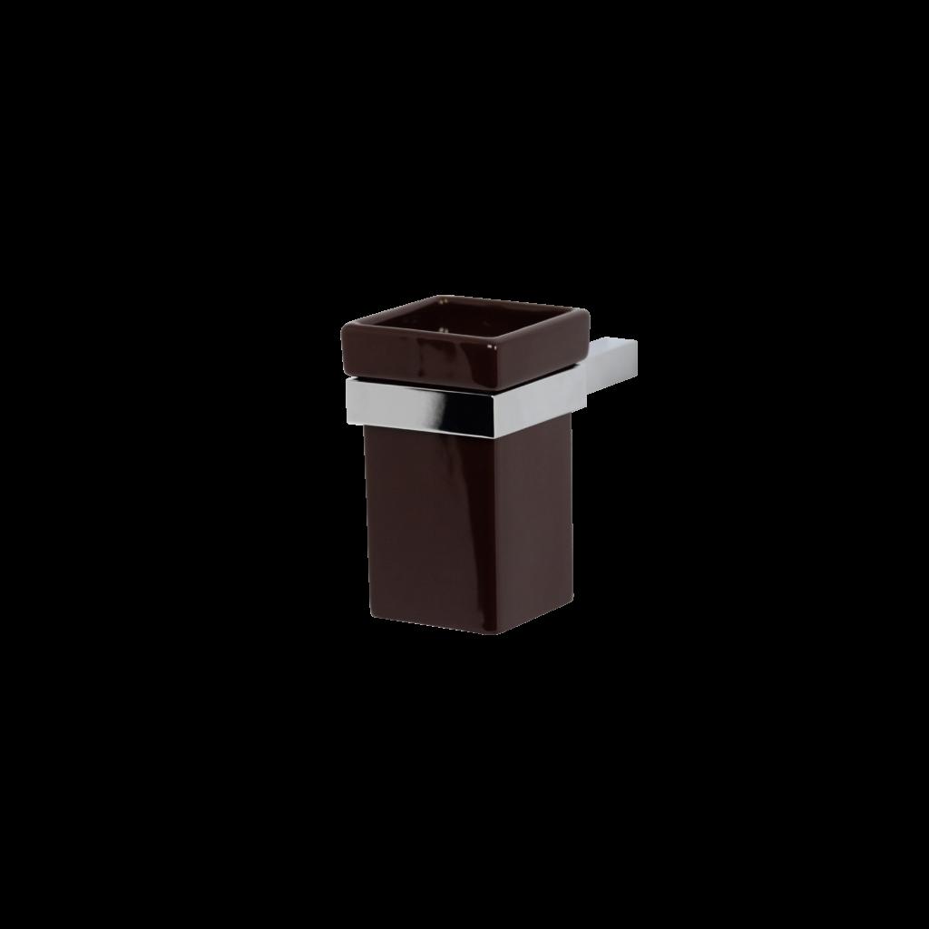 Porta spazzolini bagno in ceramica colore cacao di mirella tanzi