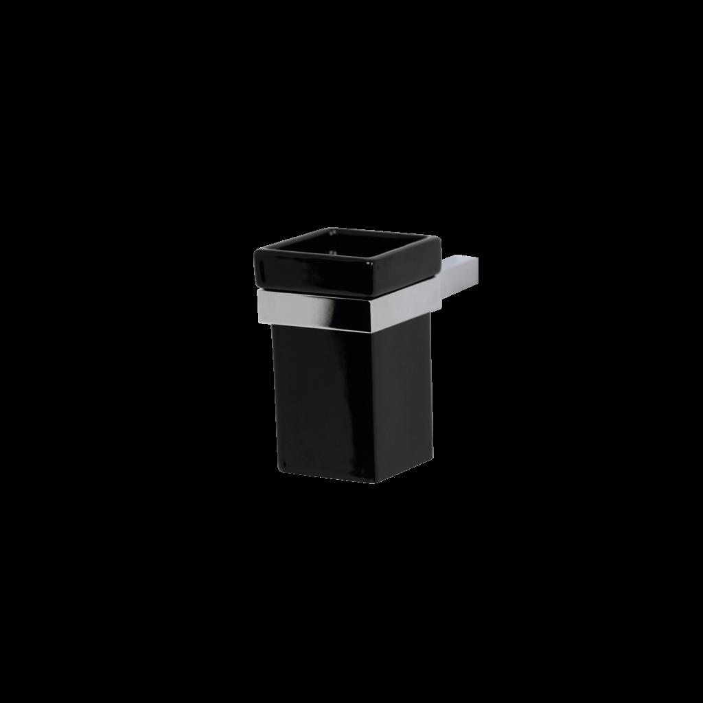 Porta spazzolini bagno in ceramica colore nero di mirella tanzi