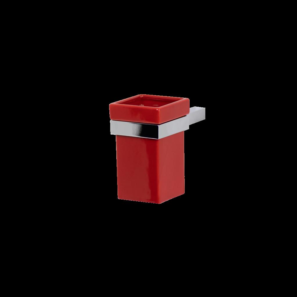 Porta spazzolini bagno in ceramica colore rosso di mirella tanzi